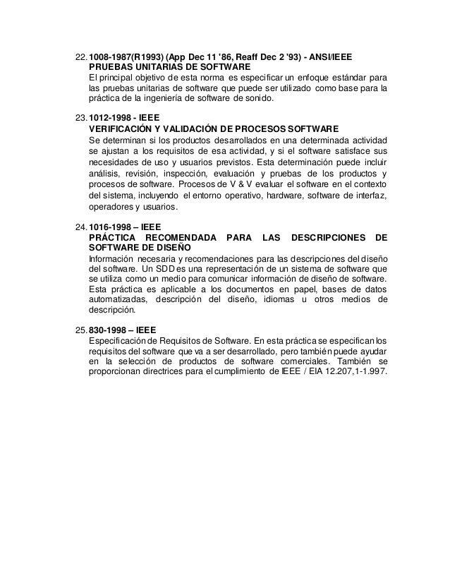 22.1008-1987(R1993) (App Dec 11 '86, Reaff Dec 2 '93) - ANSI/IEEE PRUEBAS UNITARIAS DE SOFTWARE El principal objetivo de e...