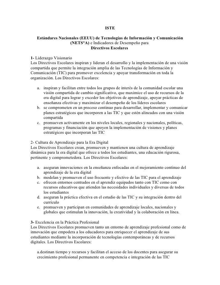 ISTE     Estándares Nacionales (EEUU) de Tecnologías de Información y Comunicación                     (NETS°A) e Indicado...