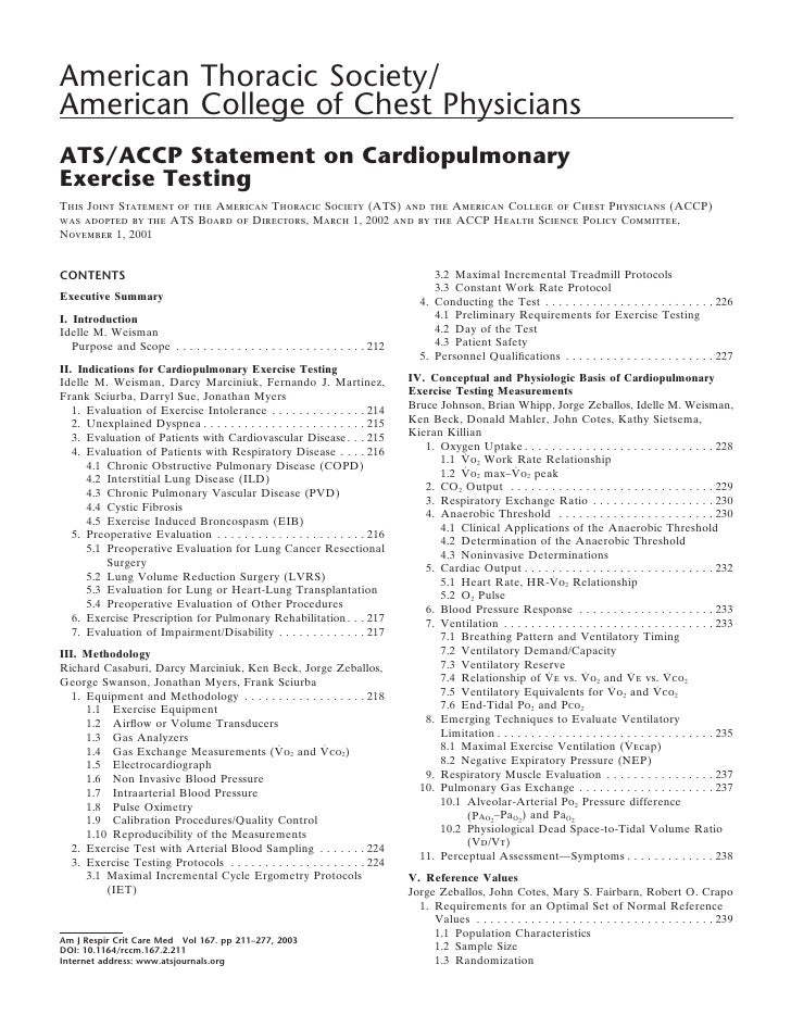 American Thoracic Society/ American College of Chest Physicians ATS/ACCP Statement on Cardiopulmonary Exercise Testing Thi...