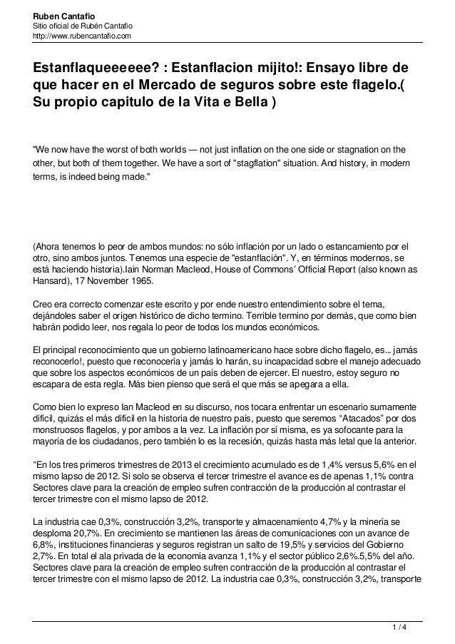 Ruben Cantafio Sitio oficial de Rubén Cantafio http://www.rubencantafio.com Estanflaqueeeeee? : Estanflacion mijito!: Ensa...