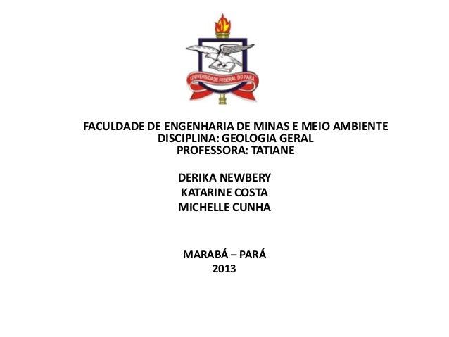 FACULDADE DE ENGENHARIA DE MINAS E MEIO AMBIENTE DISCIPLINA: GEOLOGIA GERAL PROFESSORA: TATIANE DERIKA NEWBERY KATARINE CO...