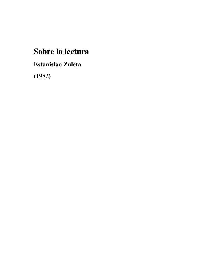 Sobre la lecturaEstanislao Zuleta(1982)
