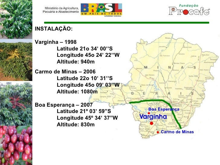 INSTALAÇÃO: Varginha – 1998 Latitude 21o 34' 00''S Longitude 45o 24' 22''W Altitude: 940m Carmo de Minas – 2006 Latitude 2...