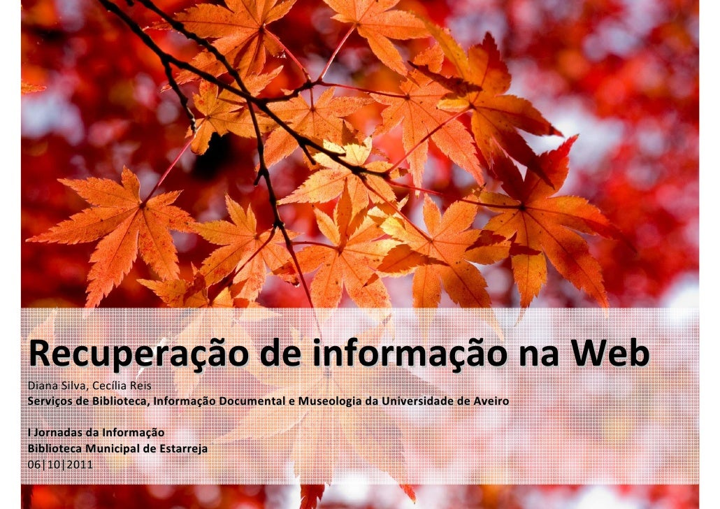 Recuperação de informação na WebDiana Silva, Cecília ReisServiços de Biblioteca, Informação Documental e Museologia da Uni...