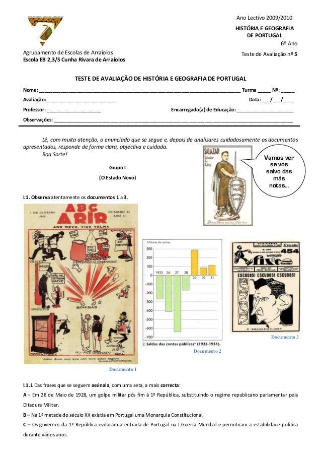 Documento 1 Documento 2 Documento 3 Agrupamento de Escolas de Arraiolos Escola EB 2,3/S Cunha Rivara de Arraiolos TESTE DE...