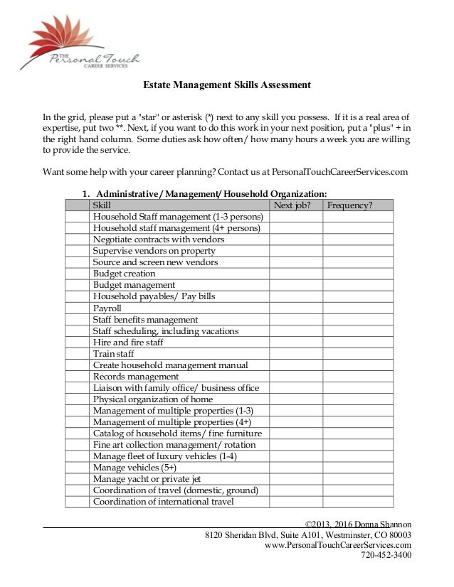 estate management skills assessment