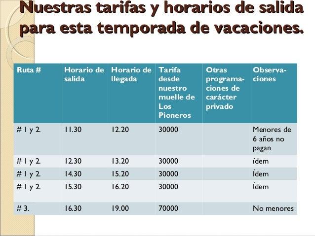 Nuestras tarifas y horarios de salida para esta temporada de vacaciones. Ruta #  Horario de Horario de Tarifa salida llega...