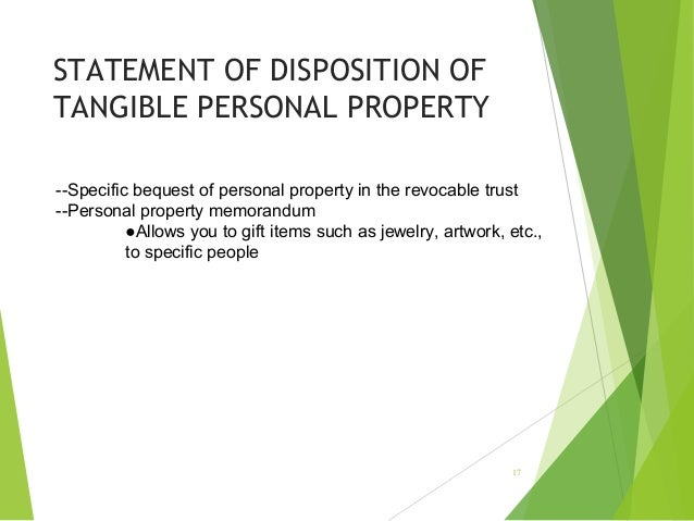 Disposition Of Tangible Personal Property