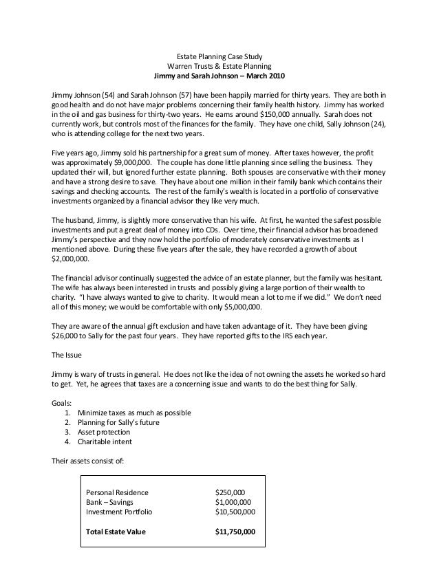 estate planning case study Probate, estate and trust planning with golden law center our staff  testimonials elder law case study so, what does a typical elder law case look  like.