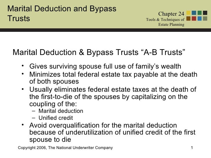 Marital Deduction and Bypass                                                            Chapter 24Trusts                  ...