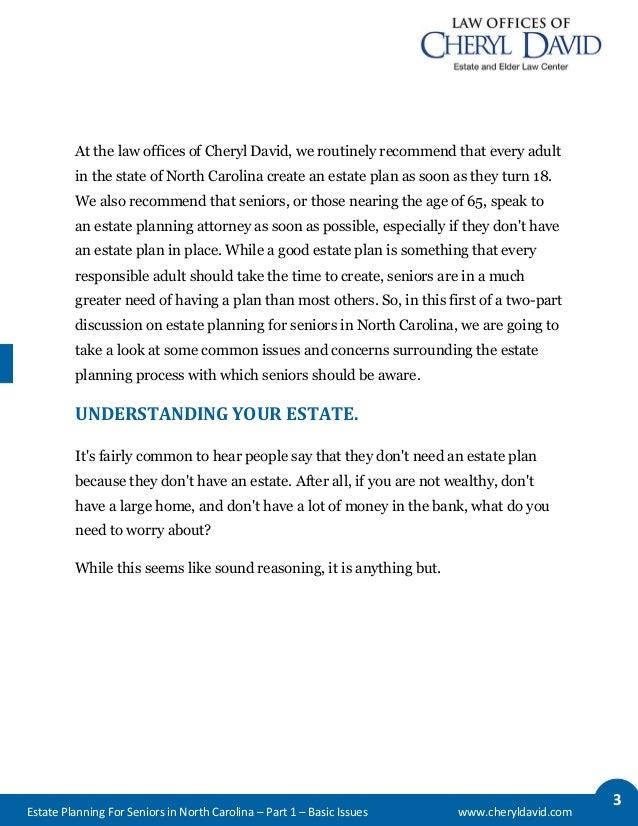 Estate Planning for Seniors in North Carolina: Basic Issues Slide 2