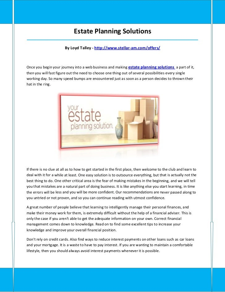 Estate Planning Solutions_____________________________________________________________________________________            ...