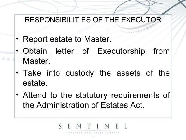 Estates 5 responsibilities of the executor report estate spiritdancerdesigns Choice Image