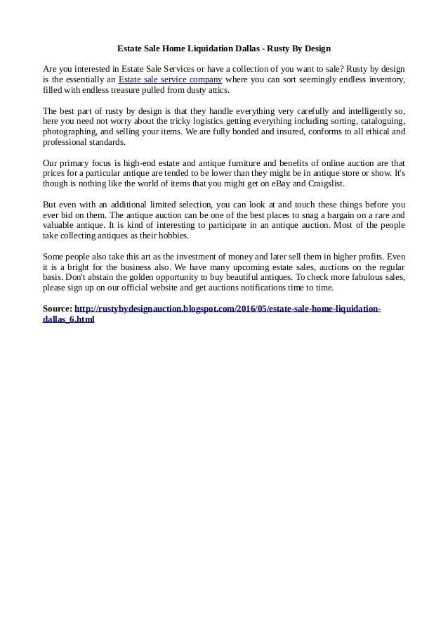 Estate Liquidation In Dallas Rusty By Design
