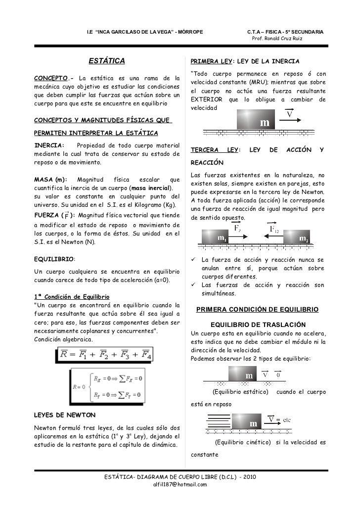 """I.E """"INCA GARCILASO DE LA VEGA"""" - MÓRROPE                 C.T.A – FISICA - 5º SECUNDARIA                                  ..."""