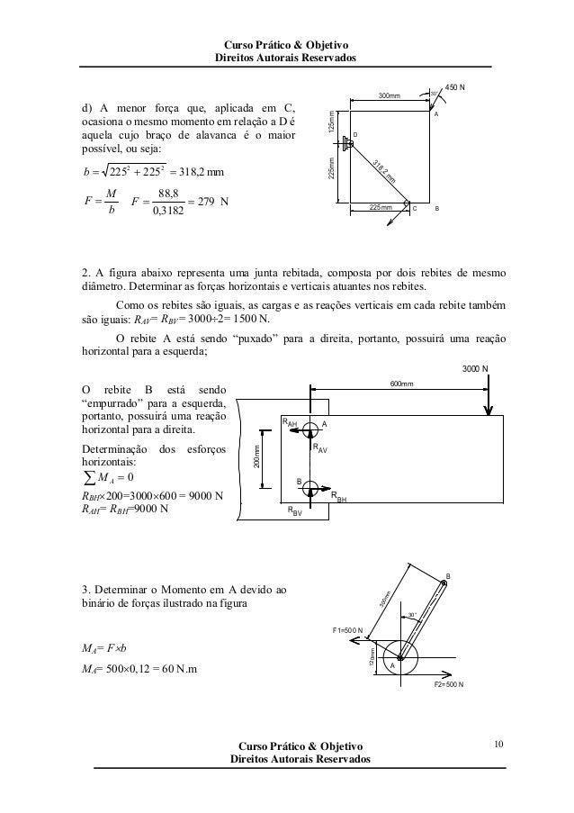 d) A menor força que, aplicada em C, ocasiona o mesmo momento em relação a D é aquela cujo braço de alavanca é o maior pos...