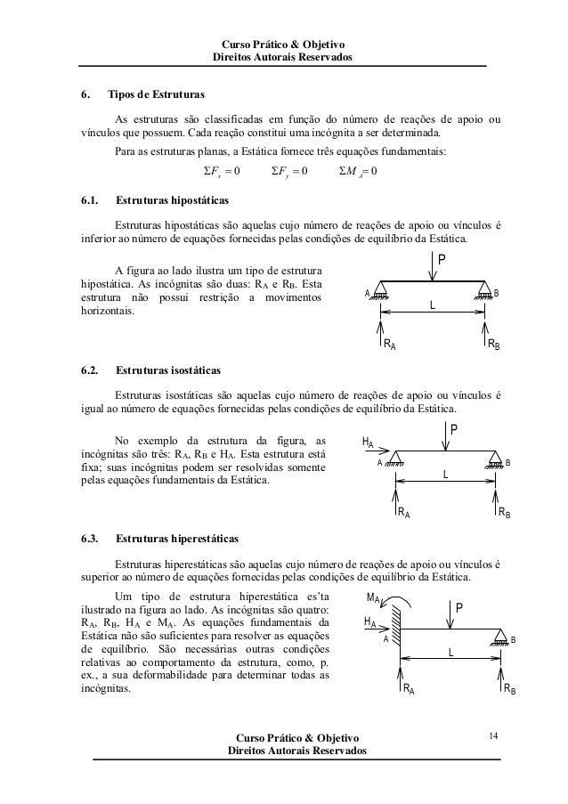 14 6. Tipos de Estruturas As estruturas são classificadas em função do número de reações de apoio ou vínculos que possuem....