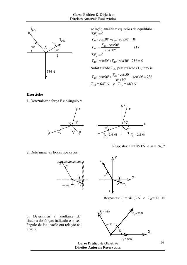 50° 30° A 736 N TAB ACT solução analítica: equações de equilíbrio. 0=Σ xF 0º50cosº30cos =⋅−⋅ ABAC TT º30cos º50cos⋅ = AB A...