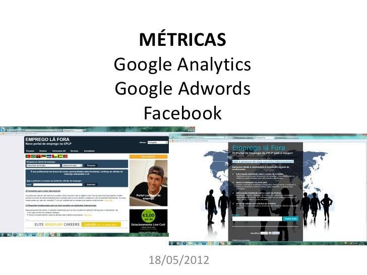 MÉTRICASGoogle AnalyticsGoogle Adwords   Facebook    18/05/2012