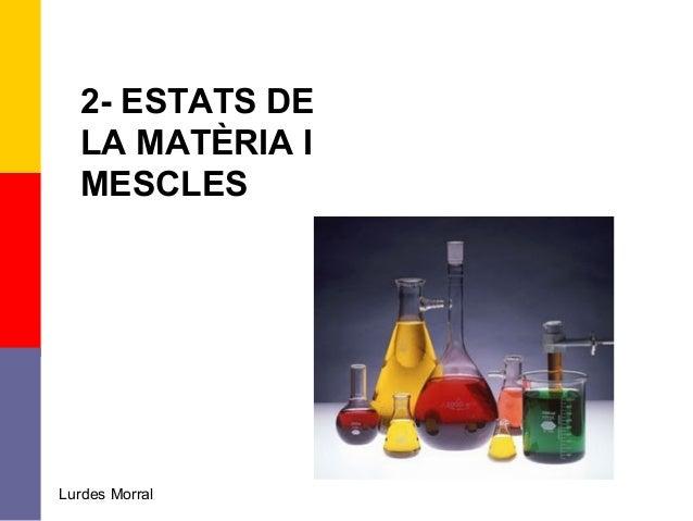 2- ESTATS DE LA MATÈRIA I MESCLES Lurdes Morral