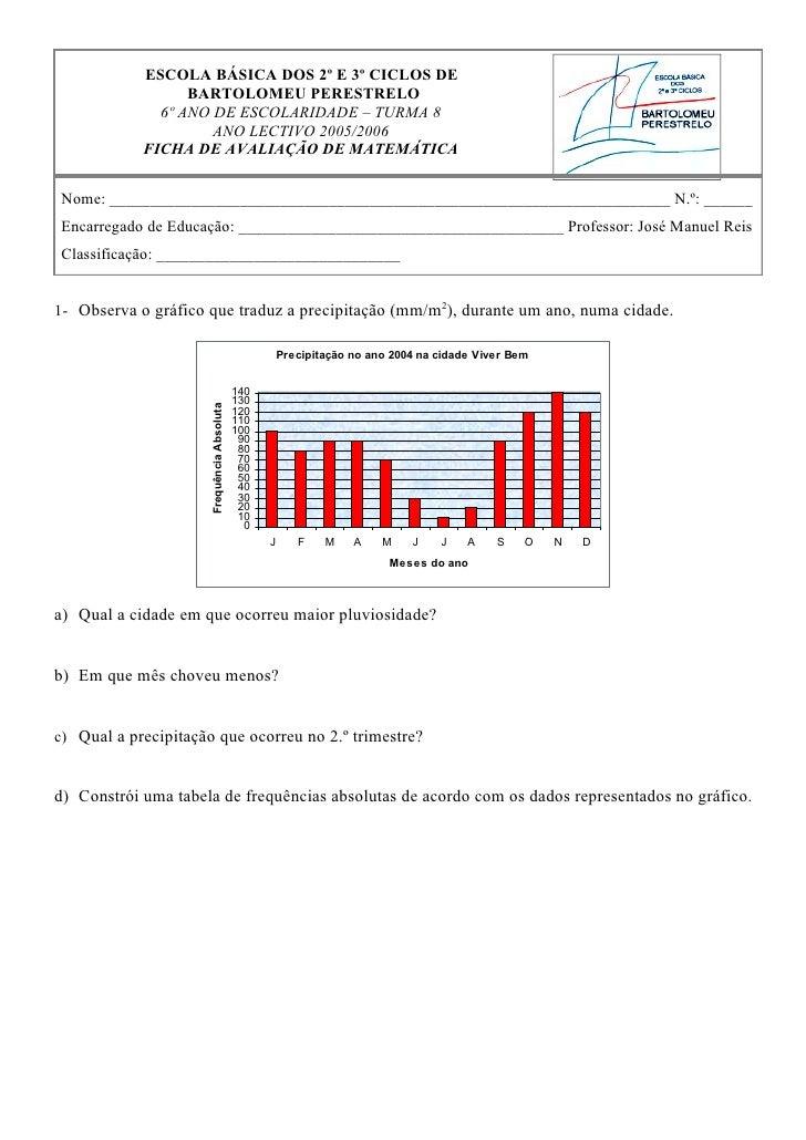 ESCOLA BÁSICA DOS 2º E 3º CICLOS DE                  BARTOLOMEU PERESTRELO              6º ANO DE ESCOLARIDADE – TURMA 8  ...