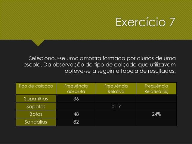 exercício média com nº sapato