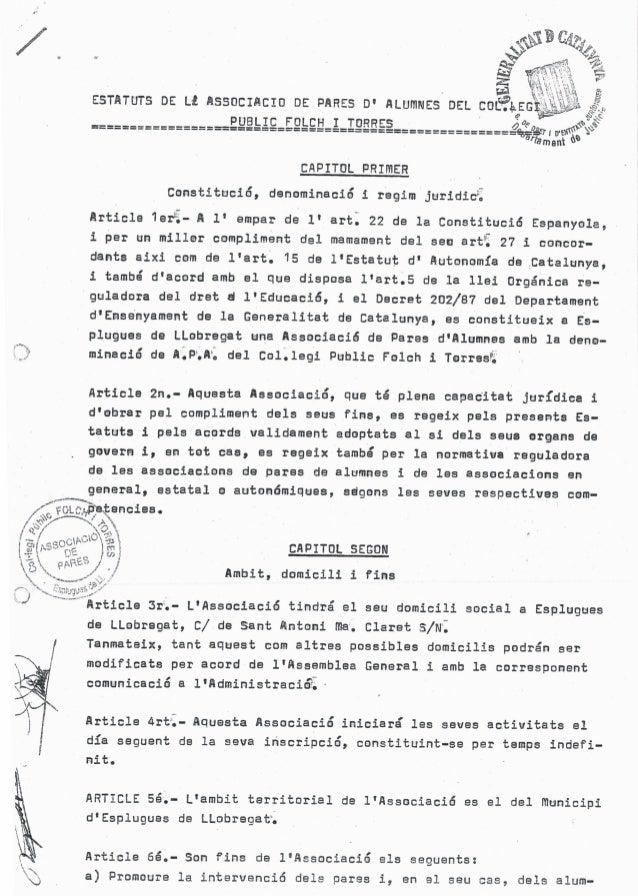 /.      CAPITUL PRIMER Constituciõ,  denominacié 1 regim juridicí  Article 1erã- A 1' ampar de 1' artl 22 de la Constituci...