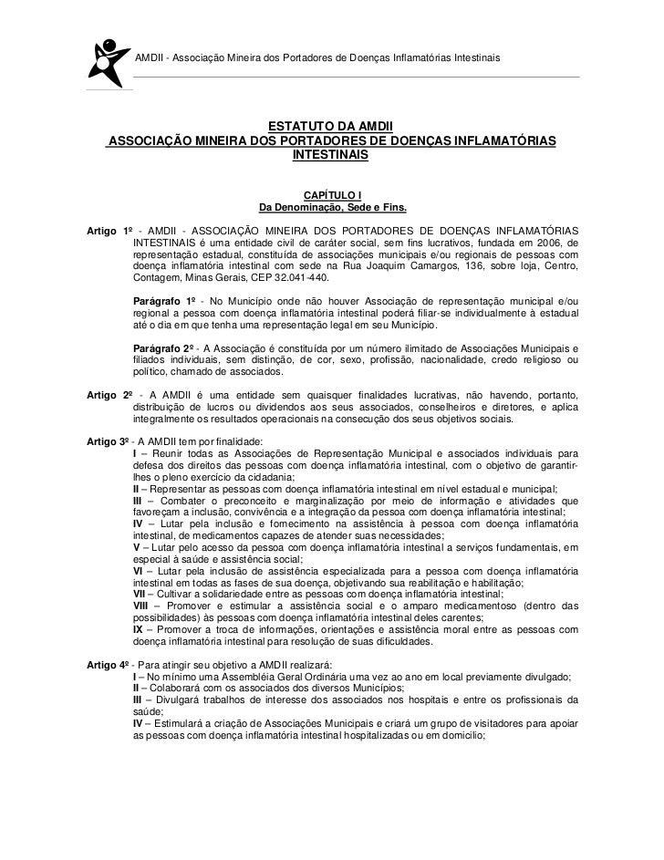 AMDII - Associação Mineira dos Portadores de Doenças Inflamatórias Intestinais                         ESTATUTO DA AMDII  ...