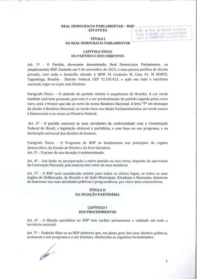 REAL DEMOCRACIA PARLAMENTAR-RDP.  .. -.  v- -  ESTATUTO .  ;'1  '     TÍTULO l DA REAL DEMOCRACIA PARLAMENTAR  d'     CAPÍ...
