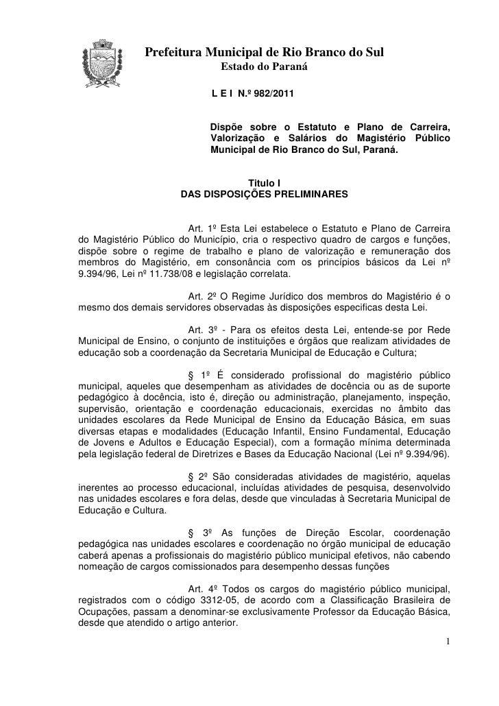 Prefeitura Municipal de Rio Branco do Sul                                Estado do Paraná                              L E...