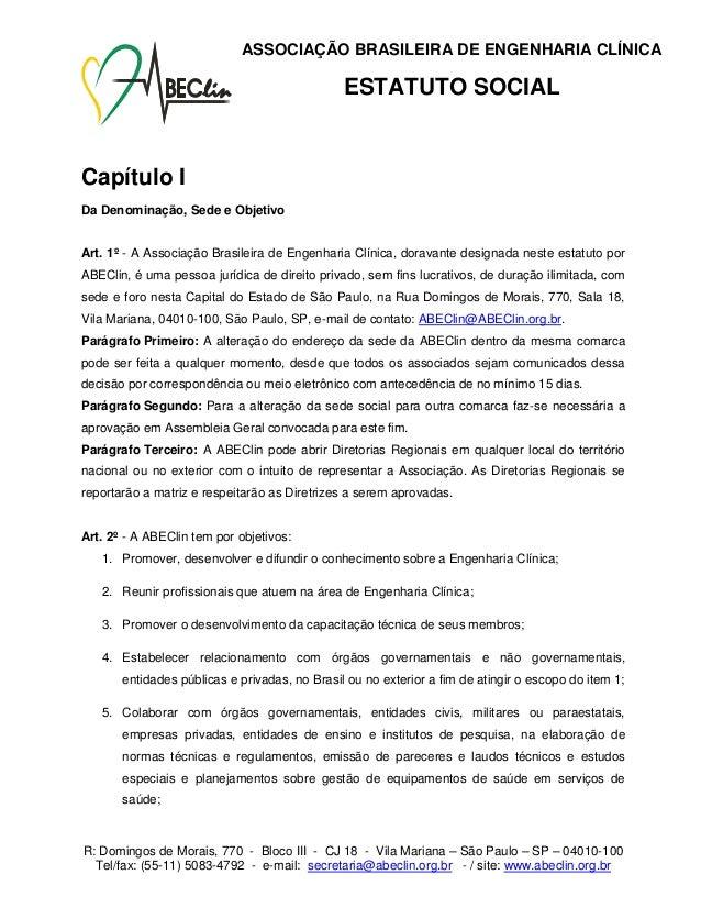 ASSOCIAÇÃO BRASILEIRA DE ENGENHARIA CLÍNICA                                               ESTATUTO SOCIALCapítulo IDa Deno...