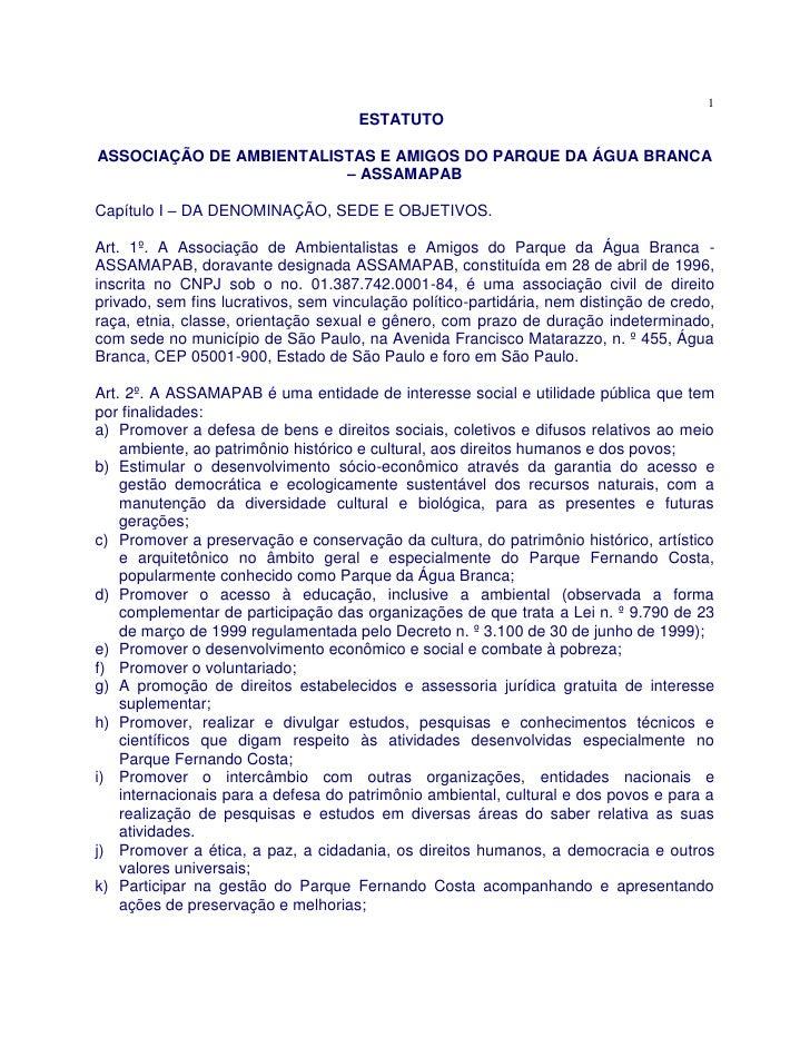 1                                      ESTATUTO  ASSOCIAÇÃO DE AMBIENTALISTAS E AMIGOS DO PARQUE DA ÁGUA BRANCA           ...