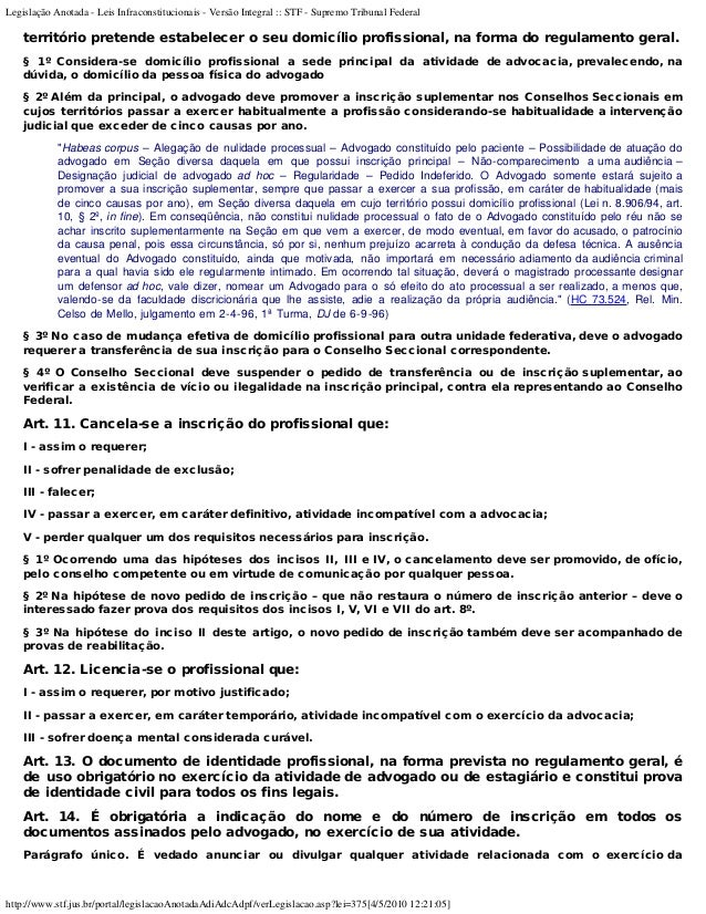 ESTATUTO DA ADVOCACIA COMENTADO EBOOK