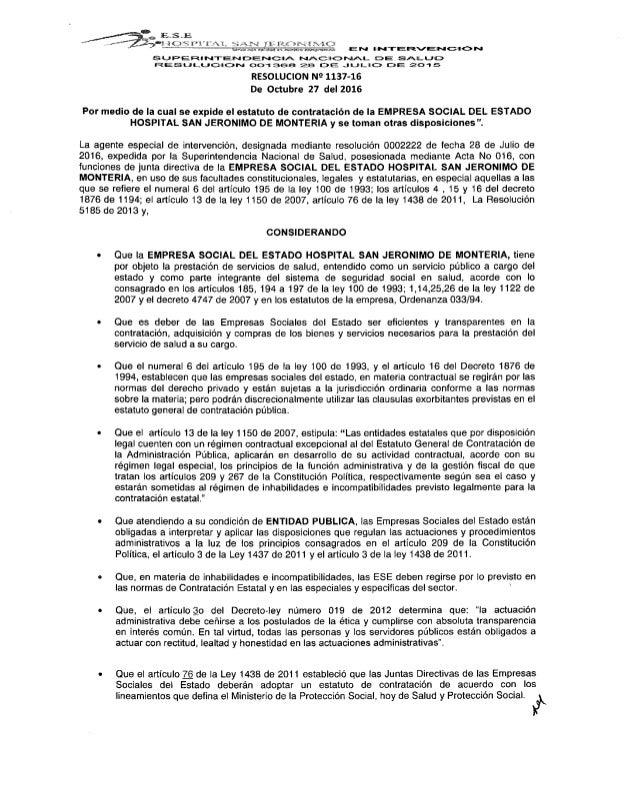 Estatuto de contratación hospital San Jeronimo de Montería