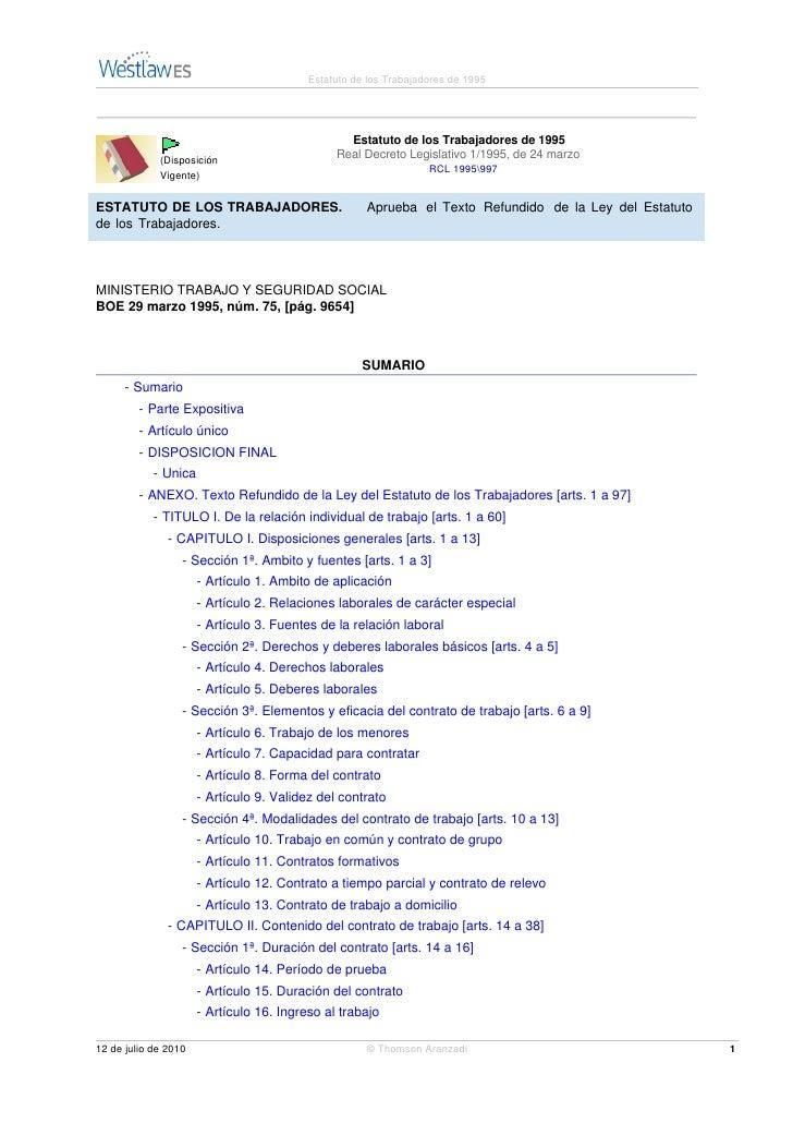 Estatuto de los Trabajadores de 1995                                                      Estatuto de los Trabajadores de ...