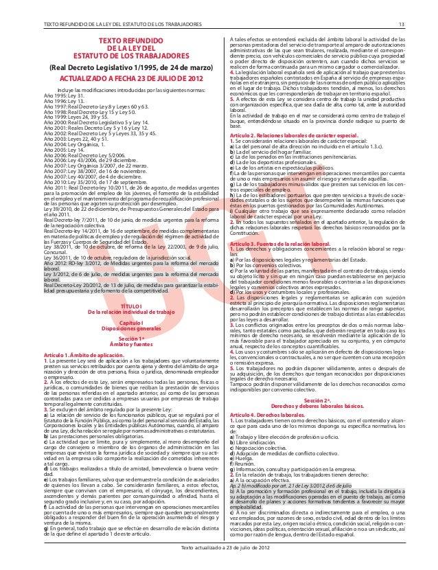 TEXTO REFUNDIDO DE LA LEY DEL ESTATUTO DE LOS TRABAJADORES  TEXTO REFUNDIDO DE LA LEY DEL ESTATUTO DE LOS TRABAJADORES (Re...