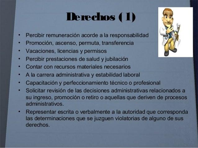 Derechos (2) • A recibir y conocer información oportuna sobre aspectos que afecten el desarrollo de sus funciones • A repr...