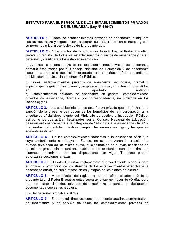 Estatuto docente de escuelas privado.Ley13047