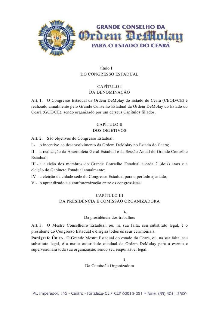 título I                          DO CONGRESSO ESTADUAL                                 CAPÍTULO I                        ...