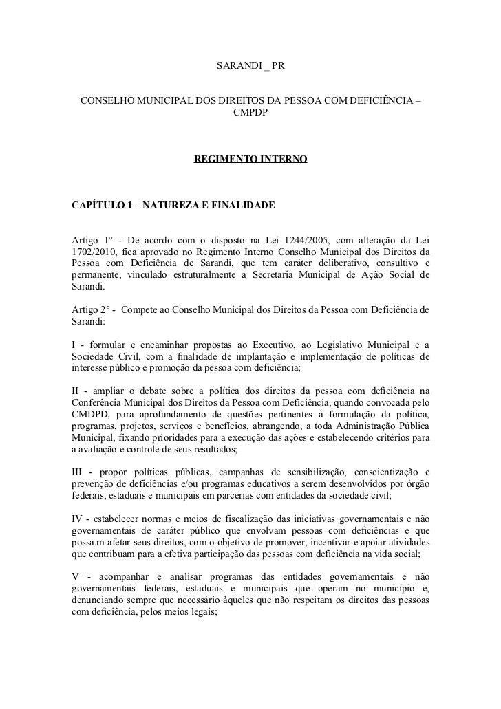 SARANDI _ PR  CONSELHO MUNICIPAL DOS DIREITOS DA PESSOA COM DEFICIÊNCIA –                            CMPDP                ...