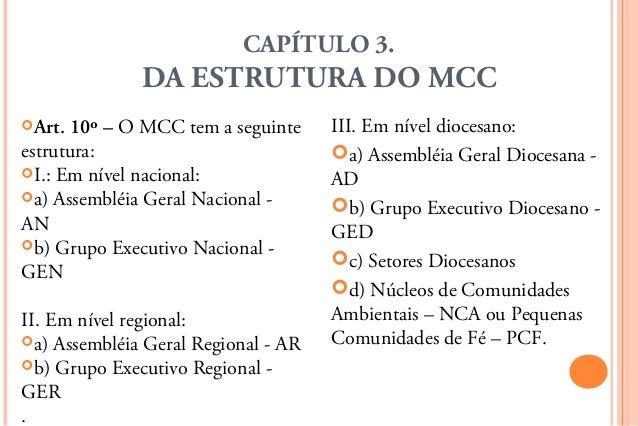 CAPÍTULO 3.              DA ESTRUTURA DO MCCArt. 10º – O MCC tem a seguinte     III. Em nível diocesano:estrutura:       ...