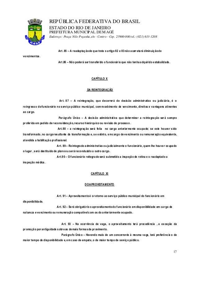 lei 1054 91 estatuto do servidor17 repÚblica federativa do brasil