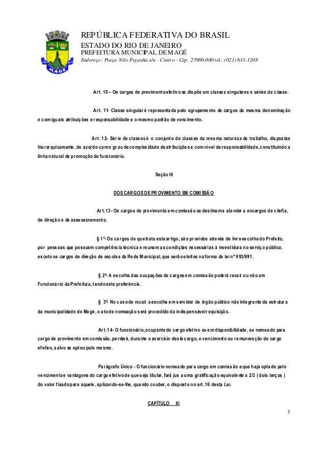 lei 1054 91 estatuto do servidorseção ii dos cargos de provimento efetivo; 3 repÚblica federativa do brasil