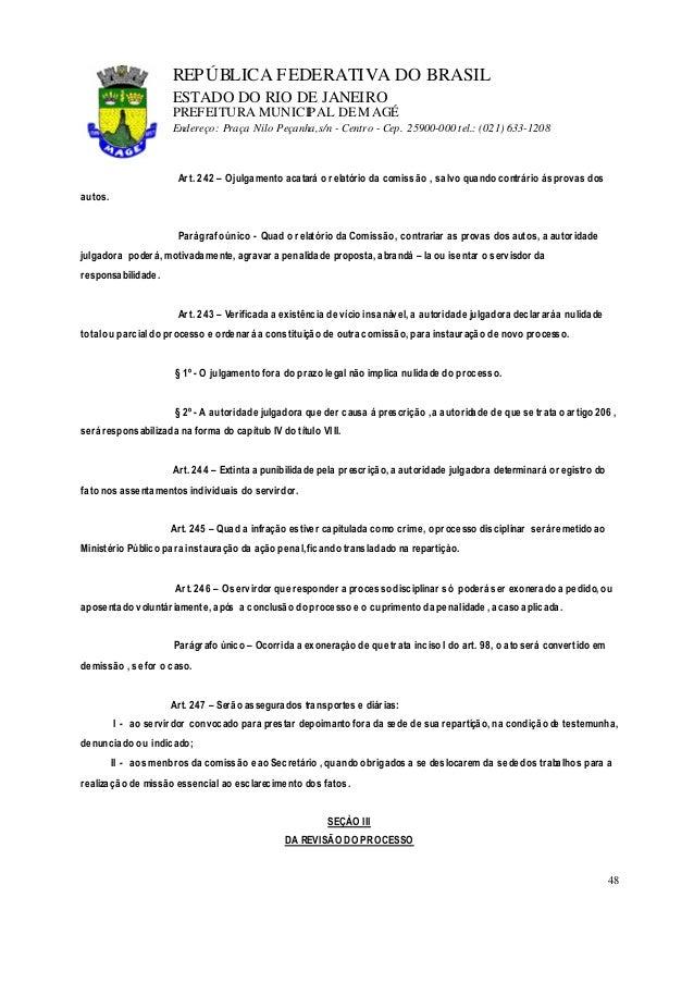 lei 1054 91 estatuto do servidor48 repÚblica federativa do brasil