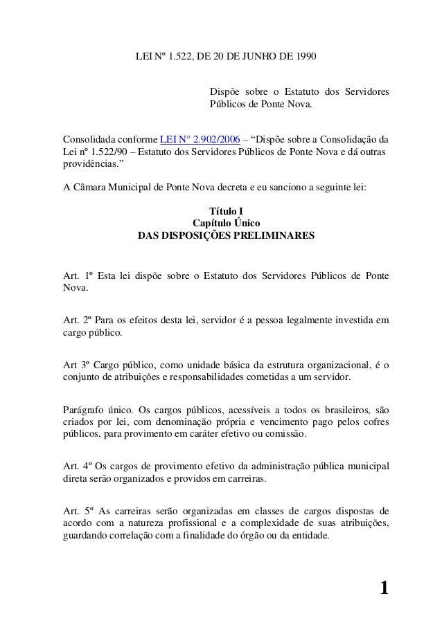 1 LEI Nº 1.522, DE 20 DE JUNHO DE 1990 Dispõe sobre o Estatuto dos Servidores Públicos de Ponte Nova. Consolidada conforme...