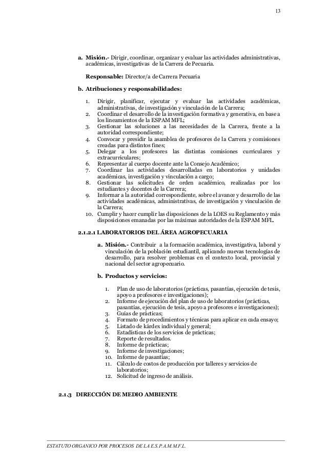 13  a. Misión.- Dirigir, coordinar, organizar y evaluar las actividades administrativas,  académicas, investigativas de la...