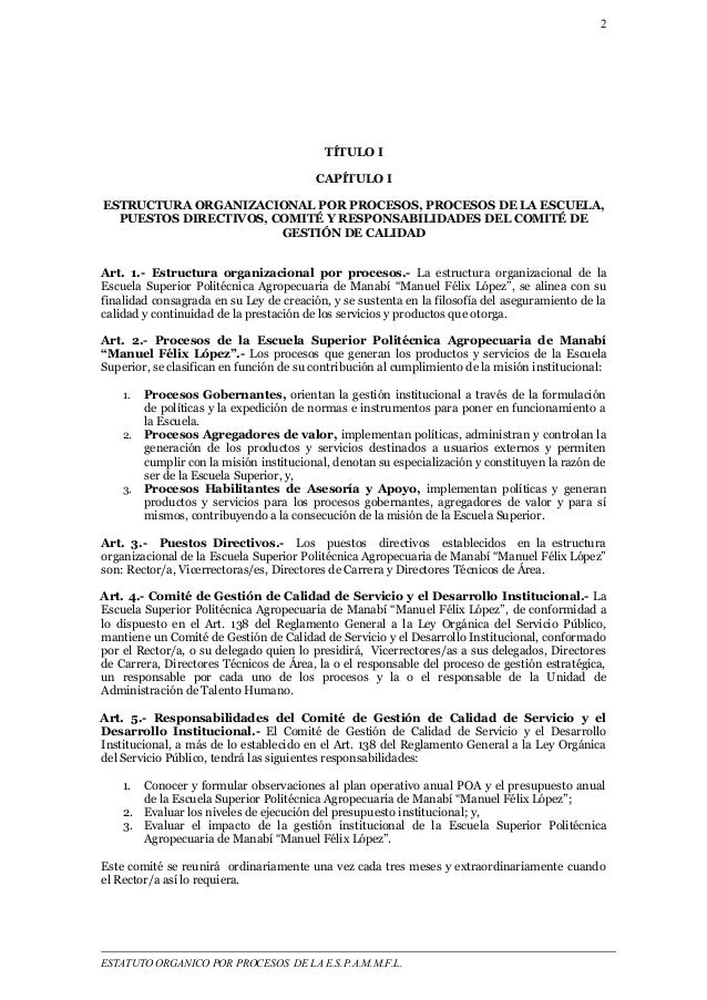2  TÍTULO I  CAPÍTULO I  ESTRUCTURA ORGANIZACIONAL POR PROCESOS, PROCESOS DE LA ESCUELA,  PUESTOS DIRECTIVOS, COMITÉ Y RES...