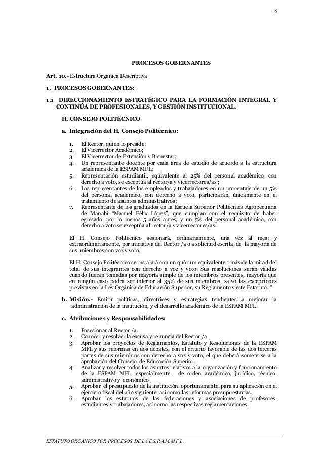 8  PROCESOS GOBERNANTES  Art. 10.- Estructura Orgánica Descriptiva  1. PROCESOS GOBERNANTES:  1.1 DIRECCIONAMIENTO ESTRATÉ...