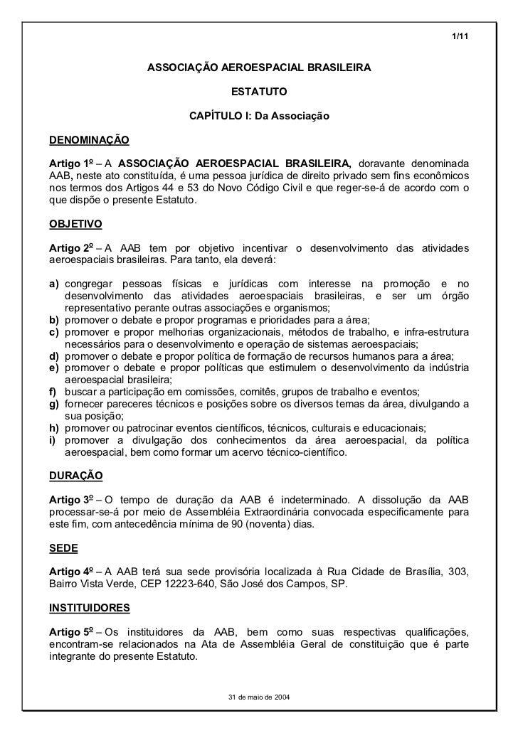1/11                    ASSOCIAÇÃO AEROESPACIAL BRASILEIRA                                      ESTATUTO                  ...