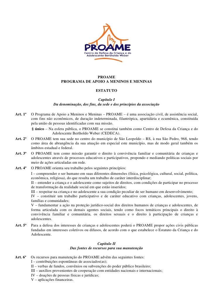 PROAME                             PROGRAMA DE APOIO A MENINOS E MENINAS                                                  ...